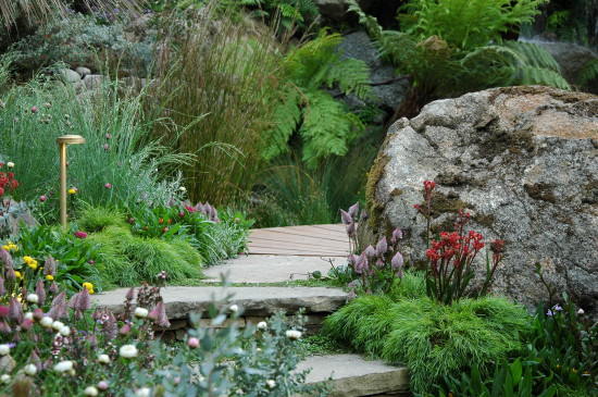 Stone steps and path through the Trailfinders Australian Garden, Chelsea 2013
