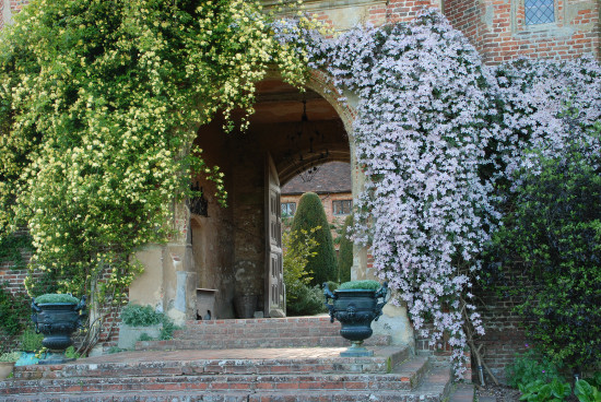 Clematis montana and yellow Banksia rose frame the entrance archway. Photo - Shutterstock