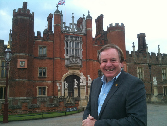 Graham Ross filming in Hampton Court Palace Gardens. Watch Graham's new TV special, called Great Gardens of the World, on Thursday 31 March 8:30 on 7.